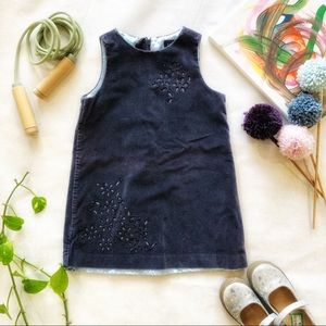 GAP Baby Girls Beaded Velvet Dress Size XS (4) EUC